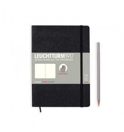 Bild von Leuchtturm Notizbuch Softcover Schwarz, Medium A5, blanko hergestellt von Leuchtturm